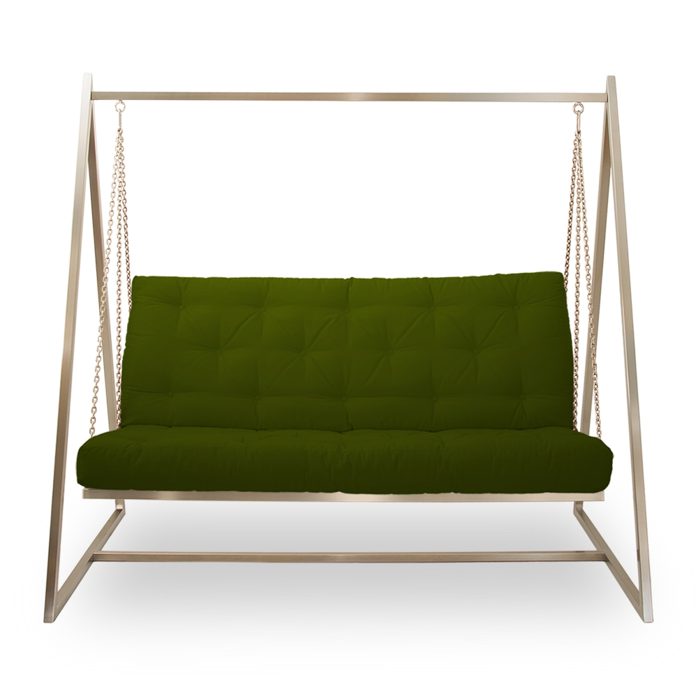 Schwingendes Sofa | Schaukelsofa | Hängeschaukel | Hängesofa Edelstahl mit Polsterbezug opalgrün