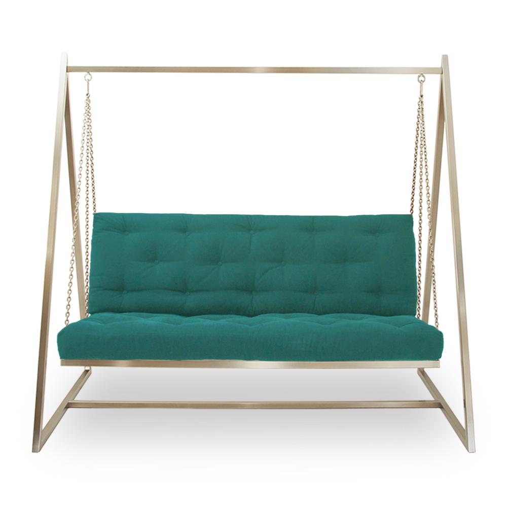 Schwingendes Sofa | Schaukelsofa | Hängeschaukel | Hängesofa  Edelstahl mit Polsterbezug Bermudablau