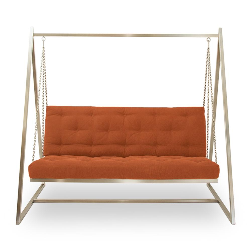 Schwingendes Sofa | Schaukelsofa | Hängeschaukel | Hängesofa  Edelstahl mit Polsterbezug Orange