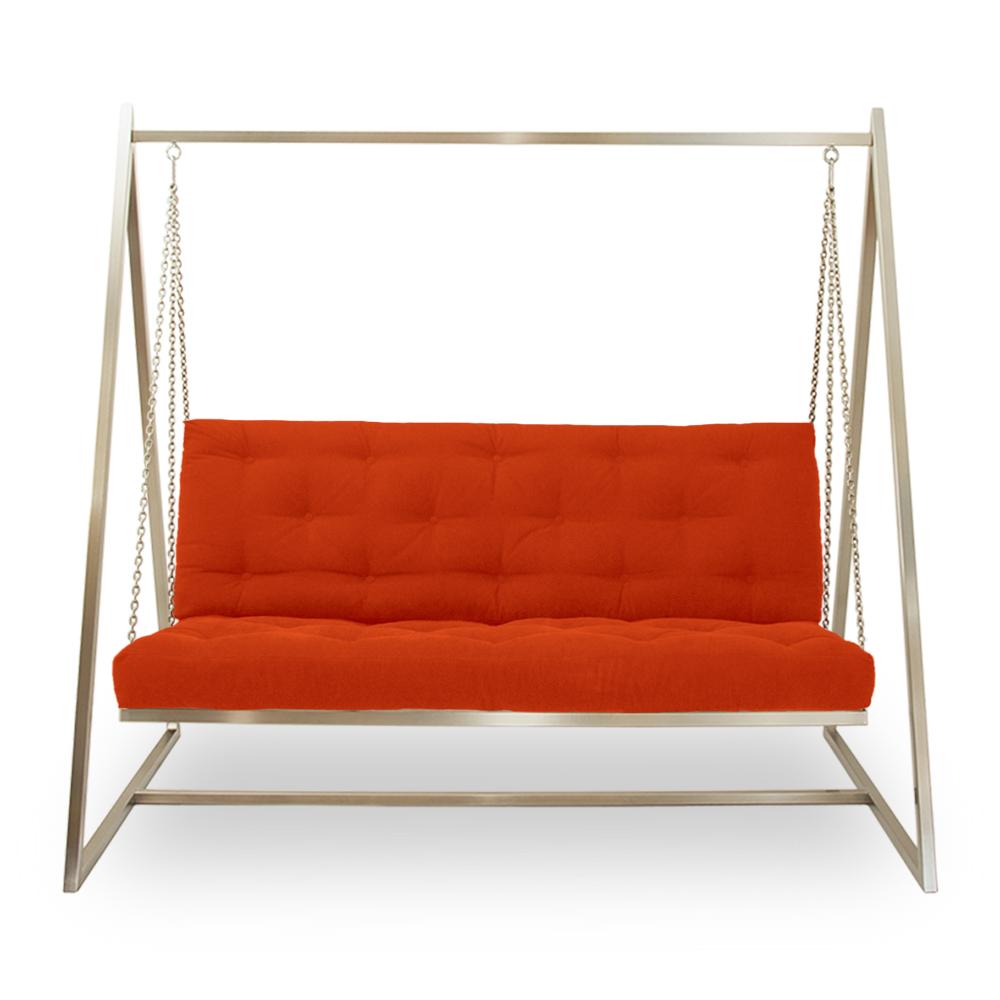 Schwingendes Sofa Schaukelsofa Swingsofa Hängesofa Edelstahl mit Polsterbezug Orangerot