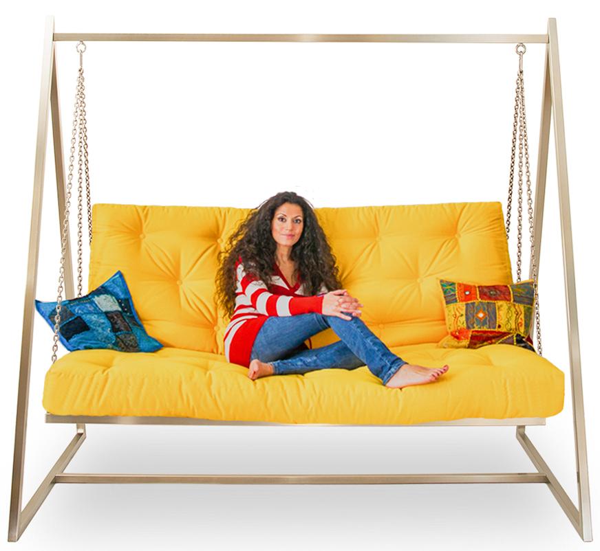 Edelstahl Hollywoodschaukel Sofa im Wohnzimmer